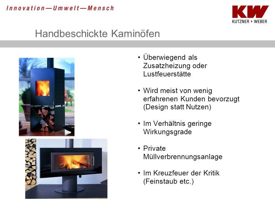 Handbeschickte Kaminöfen Überwiegend als Zusatzheizung oder Lustfeuerstätte Wird meist von wenig erfahrenen Kunden bevorzugt (Design statt Nutzen) Im