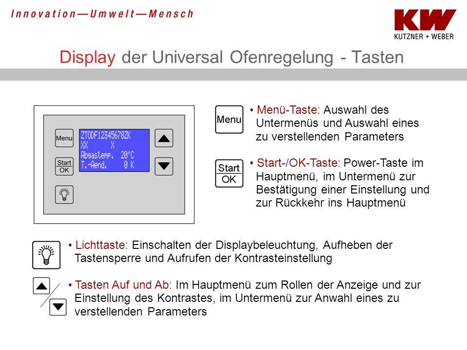 Display der Universal Ofenregelung - Tasten Lichttaste: Einschalten der Displaybeleuchtung, Aufheben der Tastensperre und Aufrufen der Kontrasteinstel
