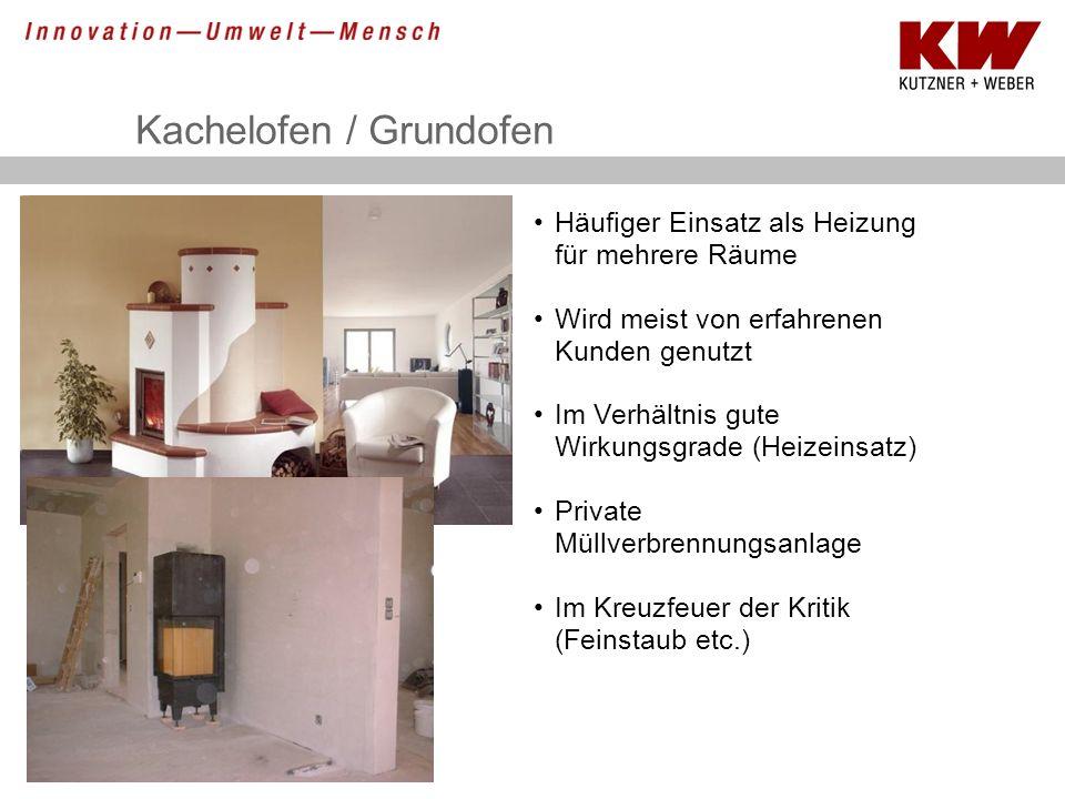 Kachelofen / Grundofen Häufiger Einsatz als Heizung für mehrere Räume Wird meist von erfahrenen Kunden genutzt Im Verhältnis gute Wirkungsgrade (Heize