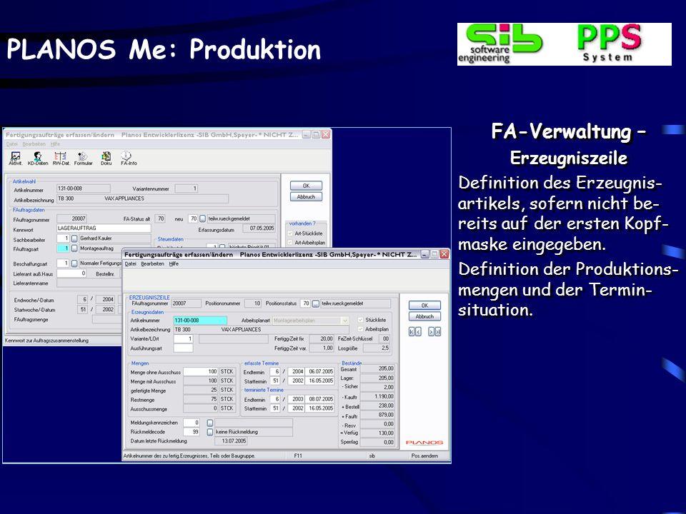 PLANOS Me: Produktion FA-Verwaltung – Archivierte Formulare Formulare, hier ausgewählt die auftragsbezogene Laufkarte, können bei jedem Formulardruck