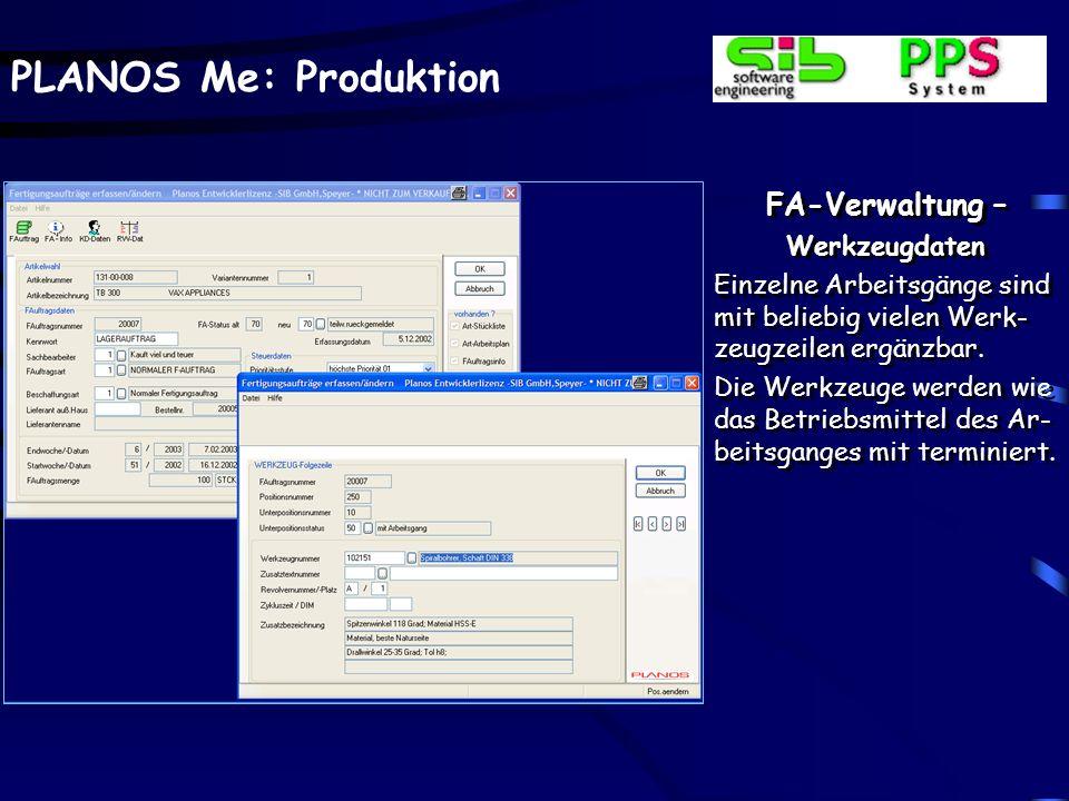 PLANOS Me: Produktion FA-Verwaltung – Arbeitsgänge kopieren Vor dem Kopieren der Arbeitsgänge kann, falls unterschiedliche für das Erzeugnis vorhanden