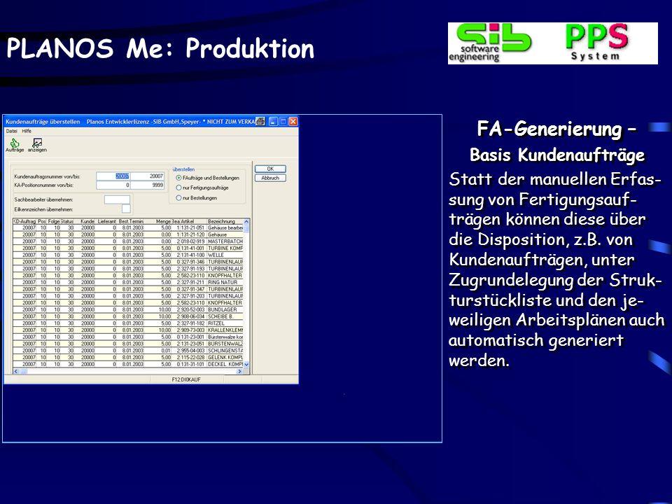 PLANOS Me: Produktion Weiterverarbeitung – Laufkartendruck Beispiel einer Laufkarte mit Kopfdaten, der Auf- tragsstückliste und den Auftragsarbeitspla
