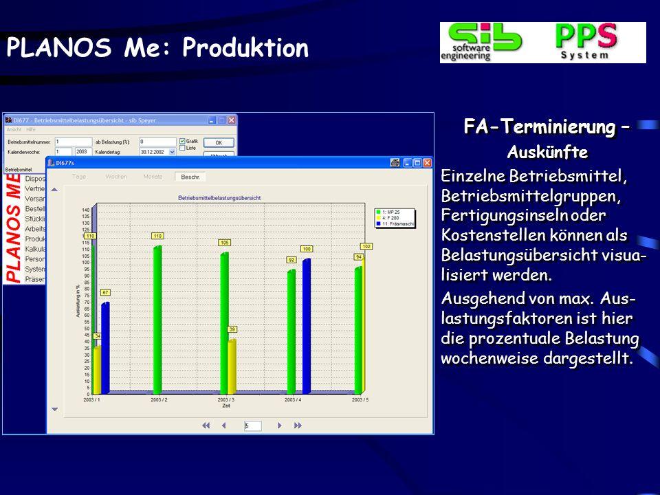 PLANOS Me: Produktion FA-Terminierung – Auskünfte Statt eines einzelnen Fer- tigungsauftrages erfolgt hier die Zusammenfassung auf einen angewählten K