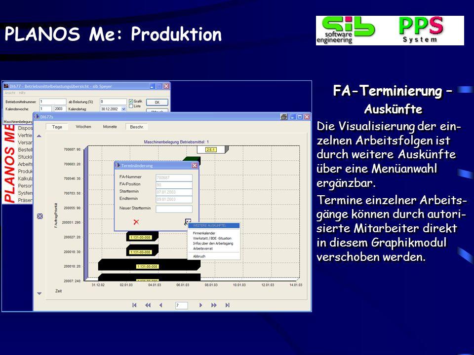 PLANOS Me: Produktion FA-Terminierung – Auskünfte Hier wird die Belegung eines Betriebsmittels auf Basis der einzelnen Ar- beitsgänge und der ausge- w