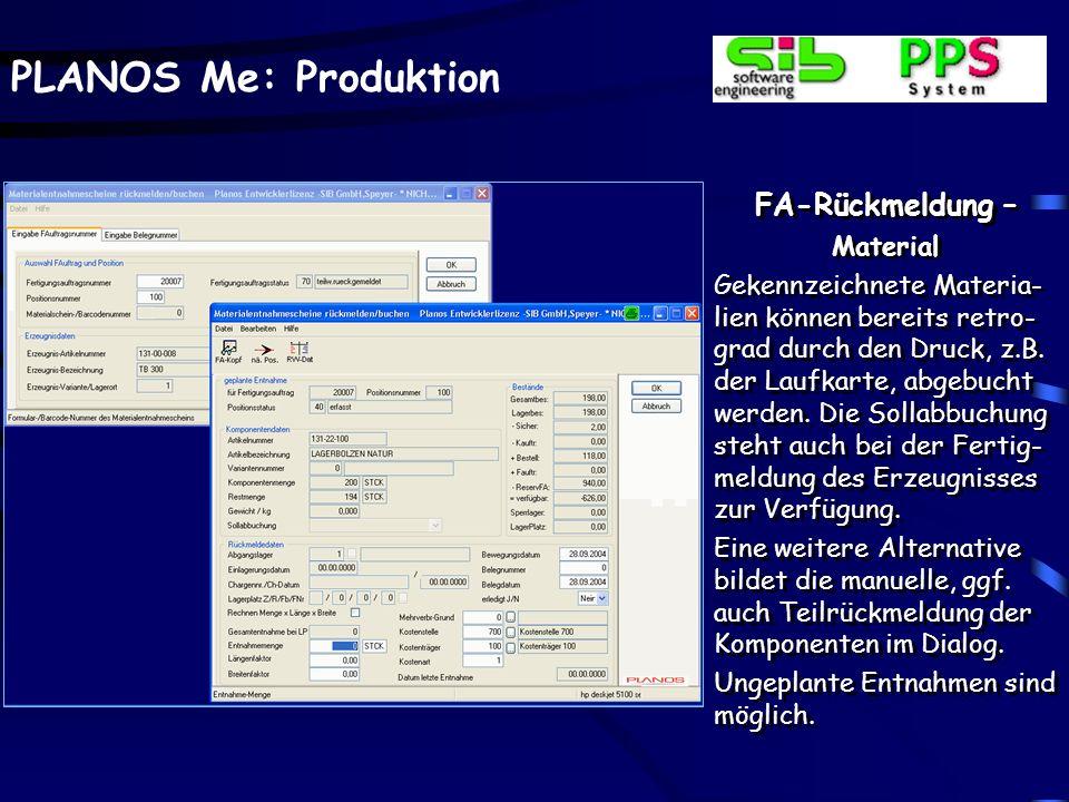 PLANOS Me: Produktion FA-Produktivzeiten Beim Einsatz der BDE und der PLANOS-Personalzeit- verwaltung können tages- bezogene Produktivzeiten ermittelt