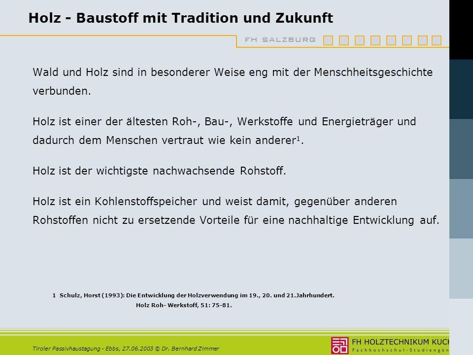 fh salzburg Tiroler Passivhaustagung - Ebbs, 27.06.2003 © Dr. Bernhard Zimmer Holz im Bauwesen