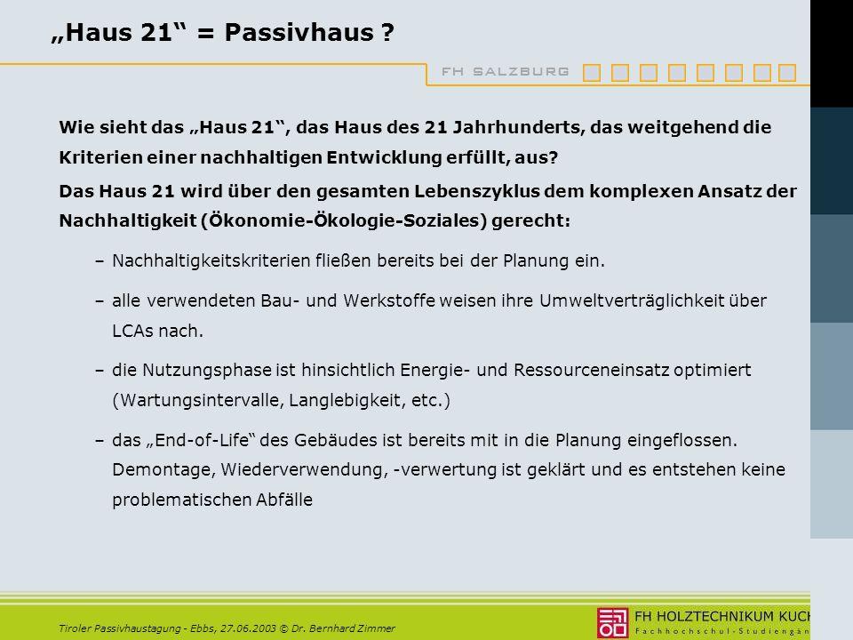 fh salzburg Tiroler Passivhaustagung - Ebbs, 27.06.2003 © Dr.