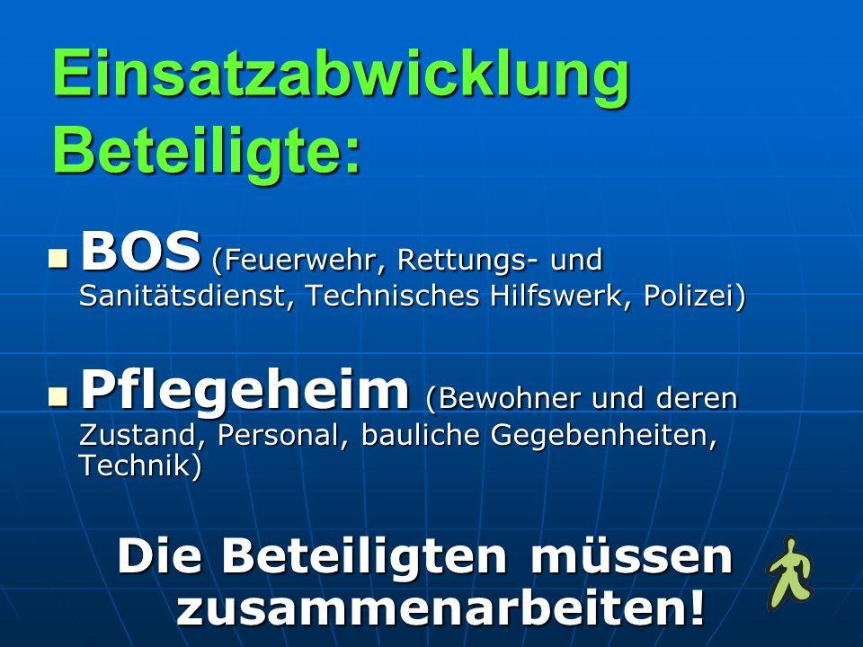 Einsatzabwicklung Beteiligte: BOS (Feuerwehr, Rettungs- und Sanitätsdienst, Technisches Hilfswerk, Polizei) BOS (Feuerwehr, Rettungs- und Sanitätsdien