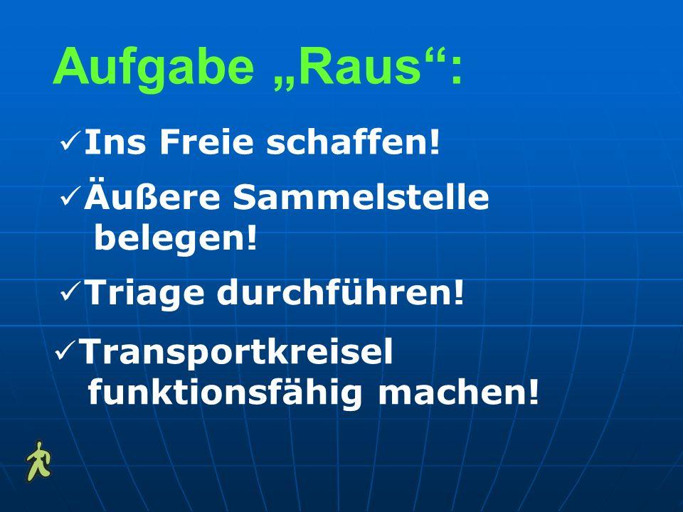 Aufgabe Raus: Ins Freie schaffen! Triage durchführen! Äußere Sammelstelle belegen! Transportkreisel funktionsfähig machen!
