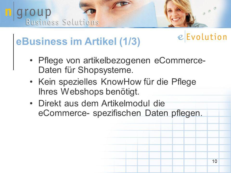 10 Pflege von artikelbezogenen eCommerce- Daten für Shopsysteme.