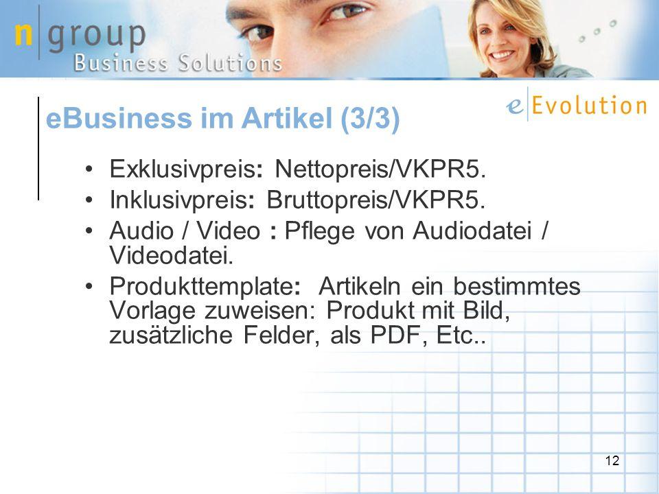 12 Exklusivpreis: Nettopreis/VKPR5. Inklusivpreis: Bruttopreis/VKPR5.