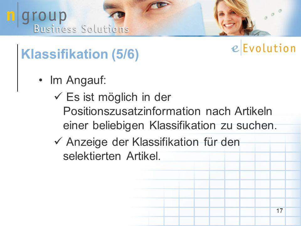 17 Im Angauf: Es ist möglich in der Positionszusatzinformation nach Artikeln einer beliebigen Klassifikation zu suchen.