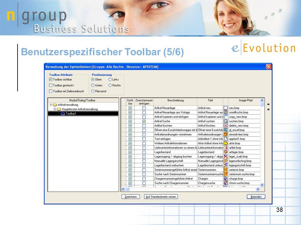 38 Benutzerspezifischer Toolbar (5/6)