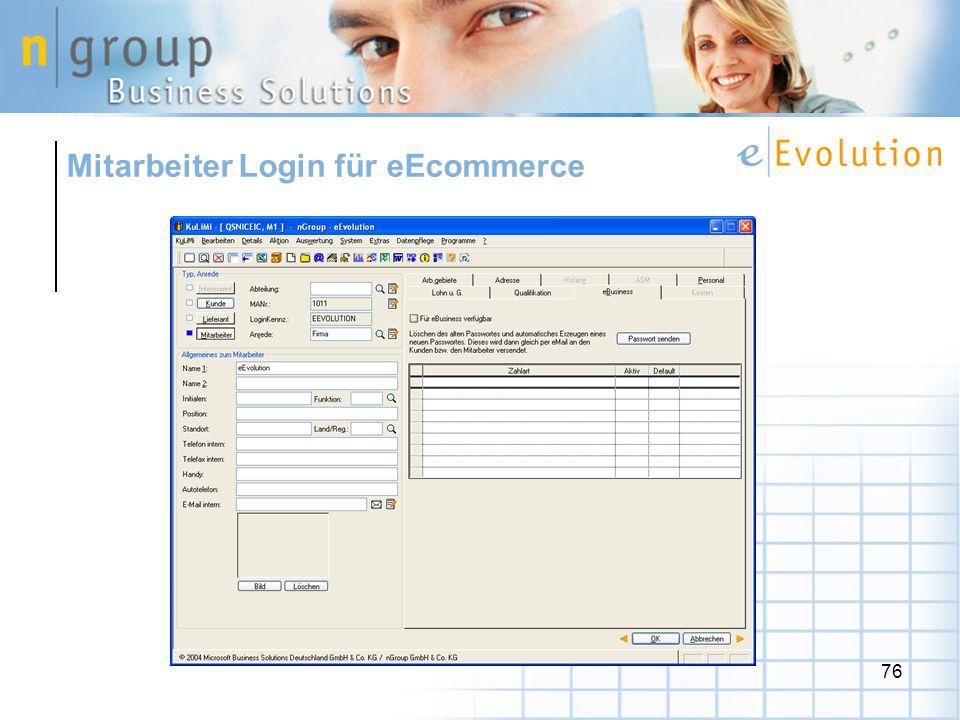 76 Mitarbeiter Login für eEcommerce