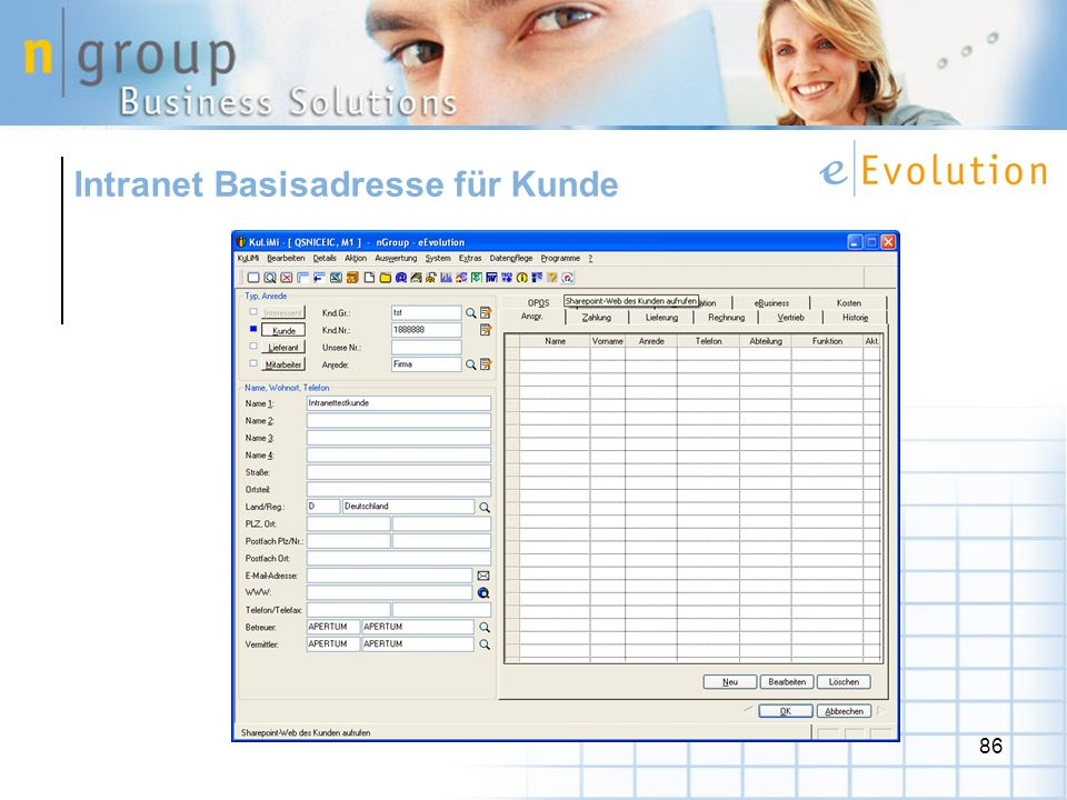 86 Intranet Basisadresse für Kunde