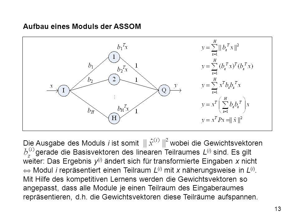 13 Aufbau eines Moduls der ASSOM Die Ausgabe des Moduls i ist somit wobei die Gewichtsvektoren gerade die Basisvektoren des linearen Teilraumes L (i) sind.