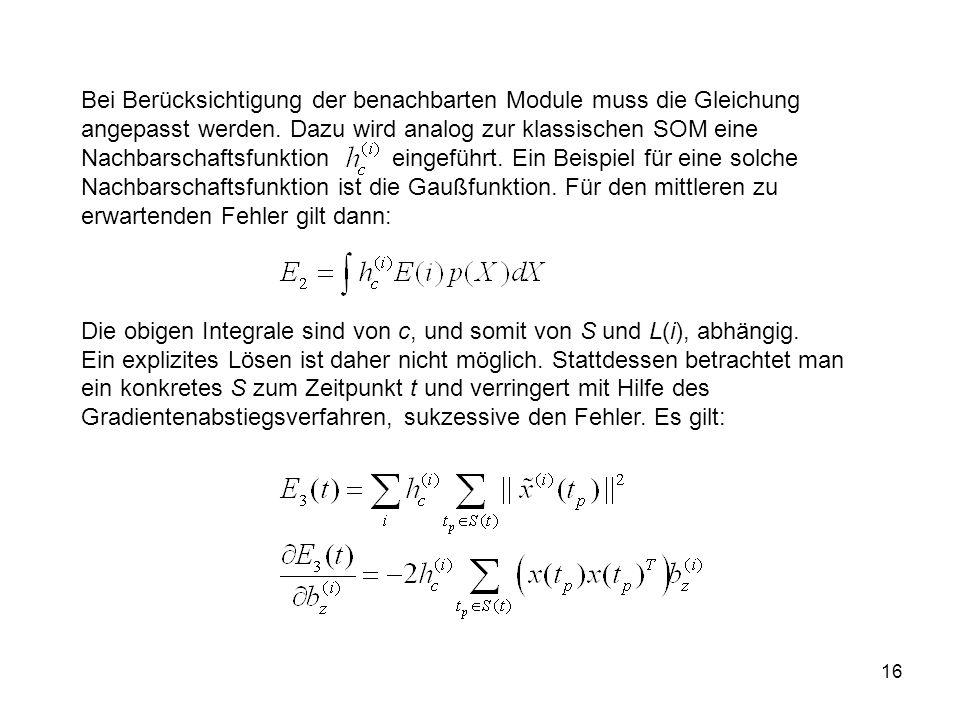 16 Bei Berücksichtigung der benachbarten Module muss die Gleichung angepasst werden.
