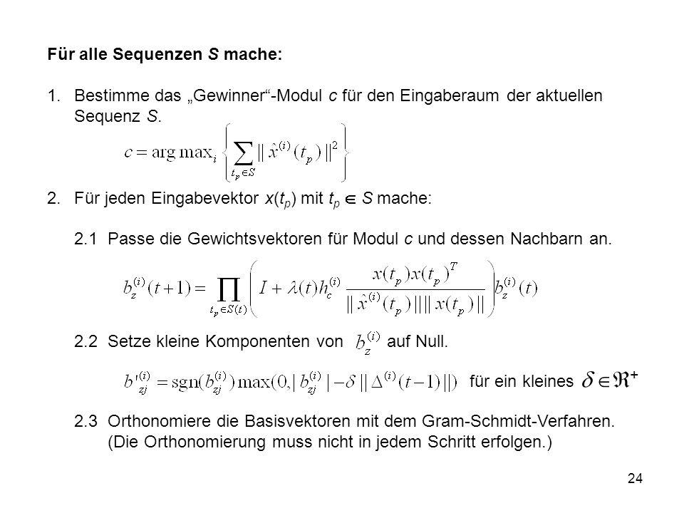24 Für alle Sequenzen S mache: 1.Bestimme das Gewinner-Modul c für den Eingaberaum der aktuellen Sequenz S.