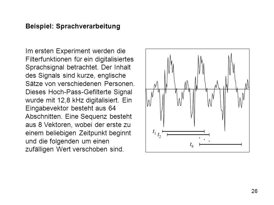 26 Beispiel: Sprachverarbeitung Im ersten Experiment werden die Filterfunktionen für ein digitalisiertes Sprachsignal betrachtet.