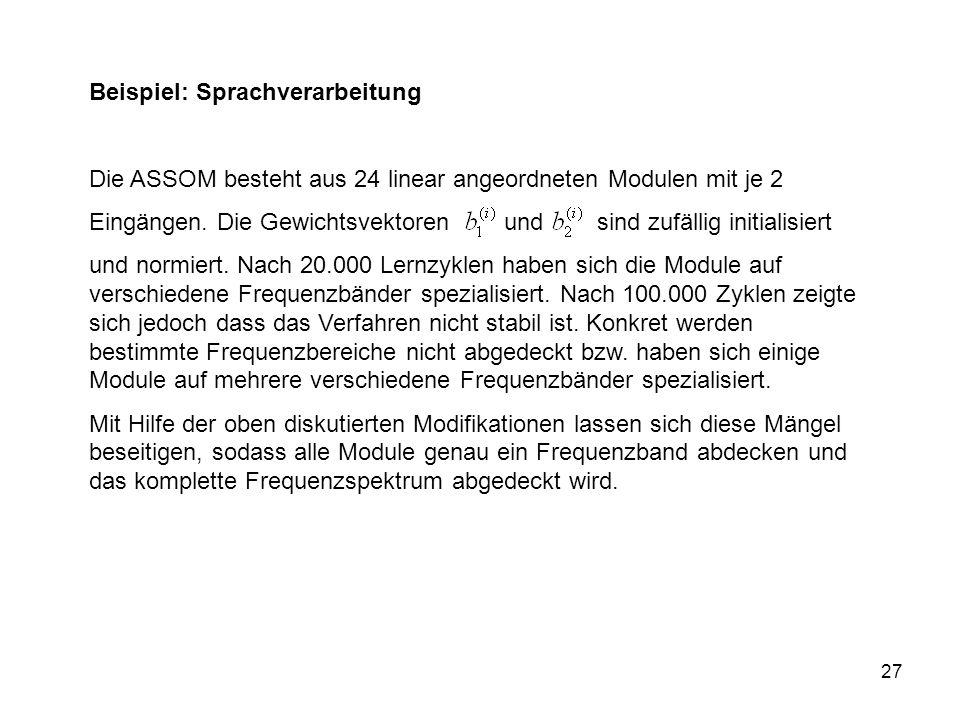 27 Beispiel: Sprachverarbeitung Die ASSOM besteht aus 24 linear angeordneten Modulen mit je 2 Eingängen.