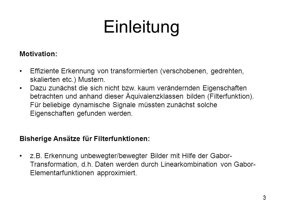 3 Einleitung Motivation: Effiziente Erkennung von transformierten (verschobenen, gedrehten, skalierten etc.) Mustern.