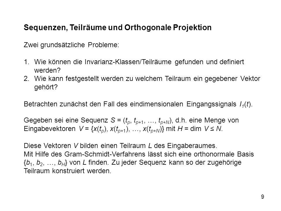 9 Sequenzen, Teilräume und Orthogonale Projektion Zwei grundsätzliche Probleme: 1.Wie können die Invarianz-Klassen/Teilräume gefunden und definiert werden.