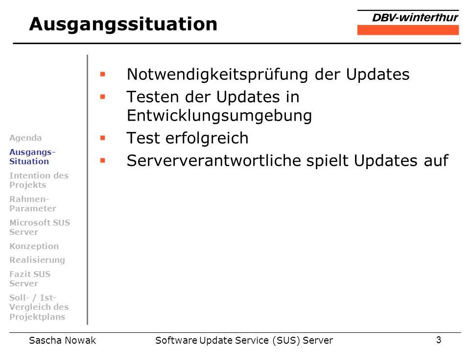 Sascha NowakSoftware Update Service (SUS) Server3 Ausgangssituation Notwendigkeitsprüfung der Updates Testen der Updates in Entwicklungsumgebung Test