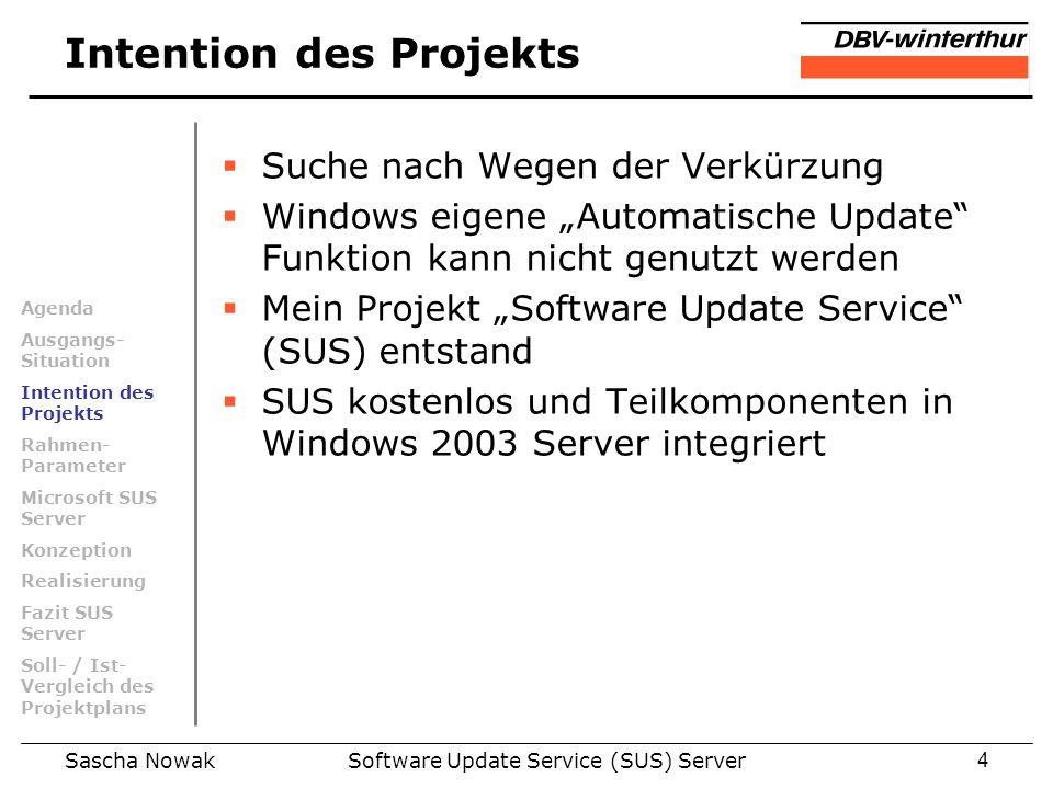 Sascha NowakSoftware Update Service (SUS) Server4 Intention des Projekts Suche nach Wegen der Verkürzung Windows eigene Automatische Update Funktion k