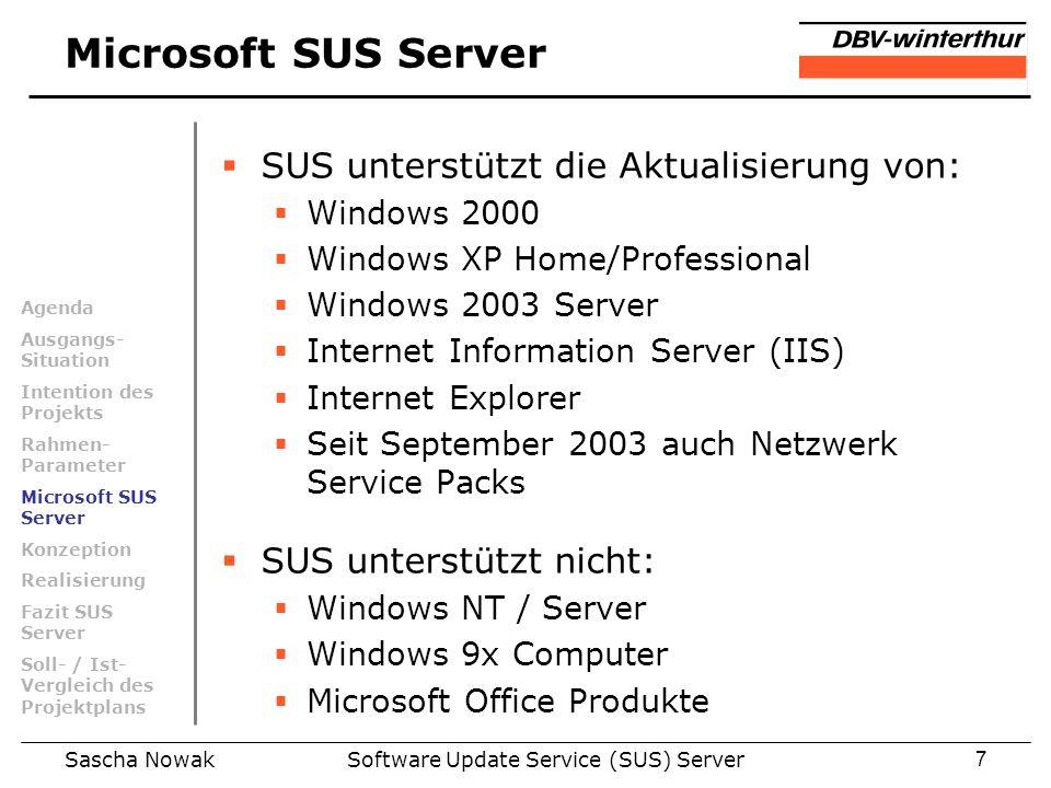 Sascha NowakSoftware Update Service (SUS) Server7 Microsoft SUS Server SUS unterstützt die Aktualisierung von: Windows 2000 Windows XP Home/Profession