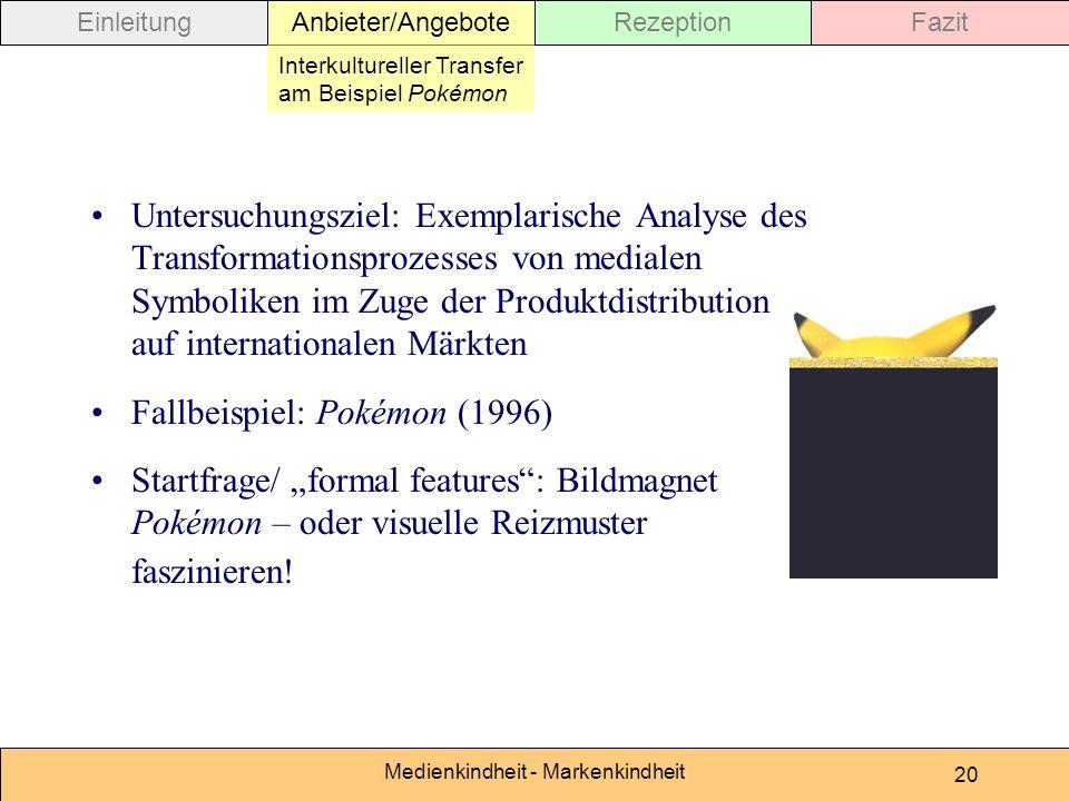 Medienkindheit - Markenkindheit 20 Untersuchungsziel: Exemplarische Analyse des Transformationsprozesses von medialen Symboliken im Zuge der Produktdi