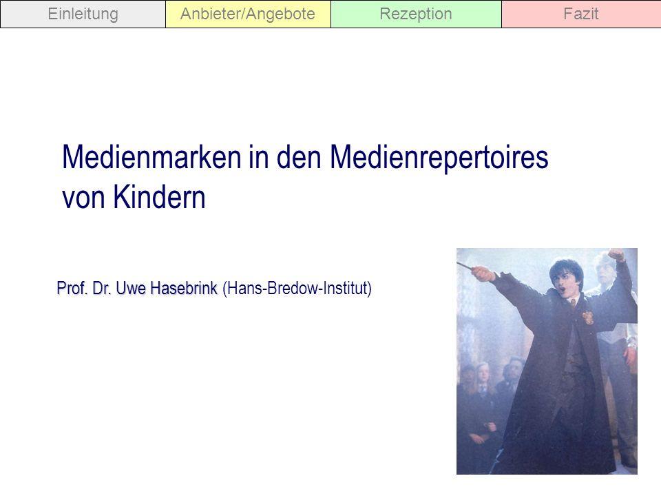 Prof. Dr. Uwe Hasebrink Prof. Dr. Uwe Hasebrink (Hans-Bredow-Institut) Medienmarken in den Medienrepertoires von Kindern EinleitungAnbieter/AngeboteRe