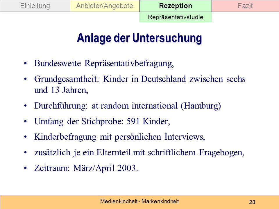 Medienkindheit - Markenkindheit 28 Anlage der Untersuchung Bundesweite Repräsentativbefragung, Grundgesamtheit: Kinder in Deutschland zwischen sechs u