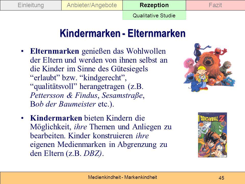 Medienkindheit - Markenkindheit 45 Kindermarken - Elternmarken Elternmarken genießen das Wohlwollen der Eltern und werden von ihnen selbst an die Kinder im Sinne des Gütesiegels erlaubt bzw.