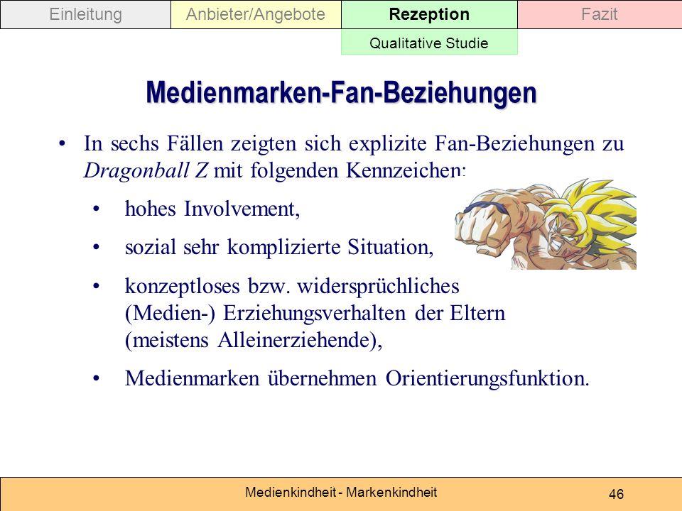 Medienkindheit - Markenkindheit 46 Medienmarken-Fan-Beziehungen In sechs Fällen zeigten sich explizite Fan-Beziehungen zu Dragonball Z mit folgenden Kennzeichen: hohes Involvement, sozial sehr komplizierte Situation, konzeptloses bzw.