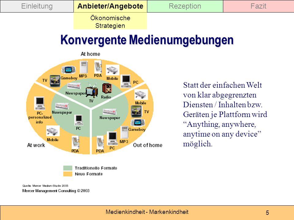 Medienkindheit - Markenkindheit 5 Statt der einfachen Welt von klar abgegrenzten Diensten / Inhalten bzw. Geräten je Plattform wird Anything, anywhere