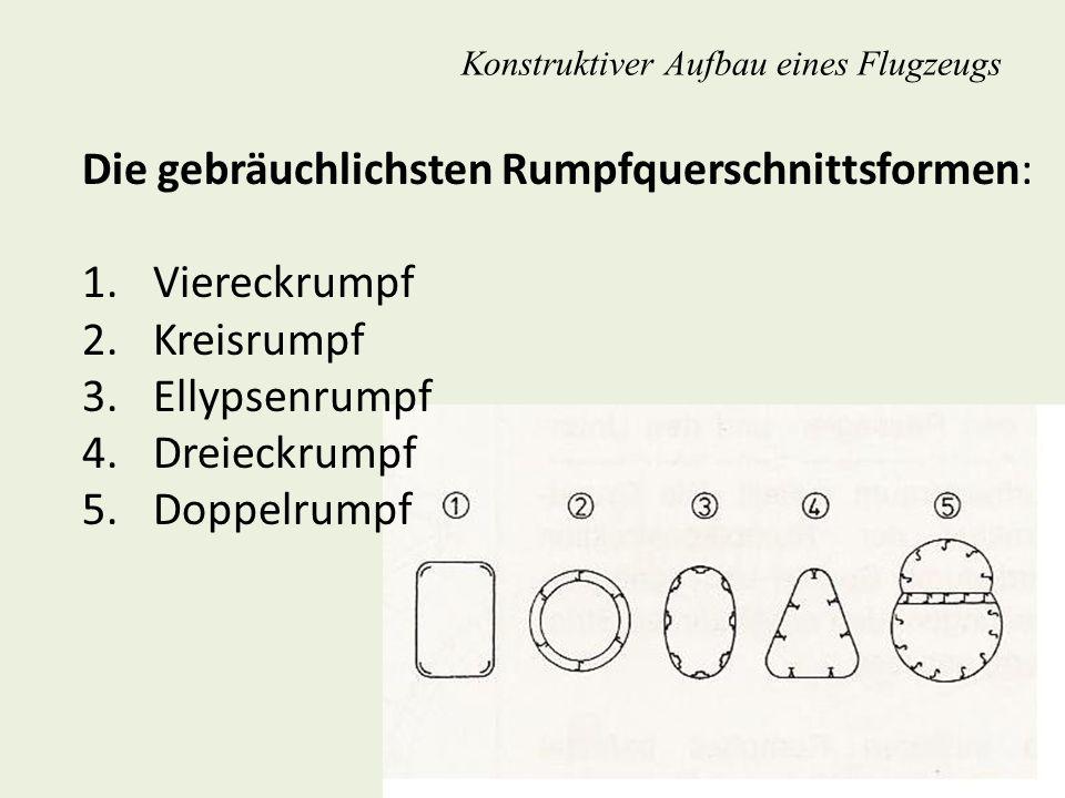 Konstruktiver Aufbau eines Flugzeugs Die gebräuchlichsten Rumpfquerschnittsformen: 1. Viereckrumpf 2. Kreisrumpf 3. Ellypsenrumpf 4. Dreieckrumpf 5. D