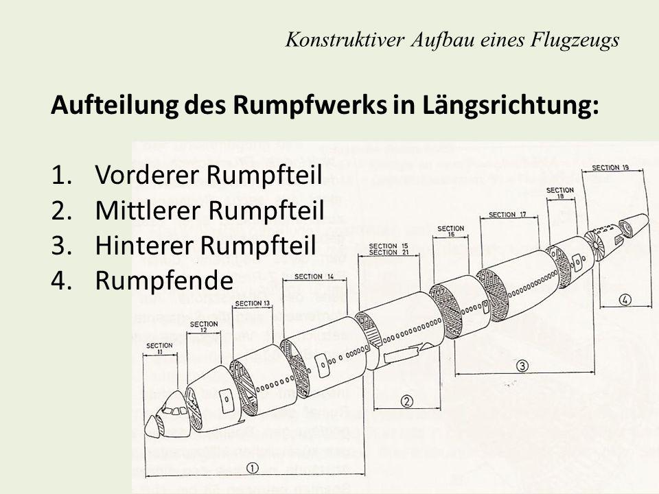 Konstruktiver Aufbau eines Flugzeugs Aufteilung des Rumpfwerks in Längsrichtung: 1. Vorderer Rumpfteil 2. Mittlerer Rumpfteil 3. Hinterer Rumpfteil 4.