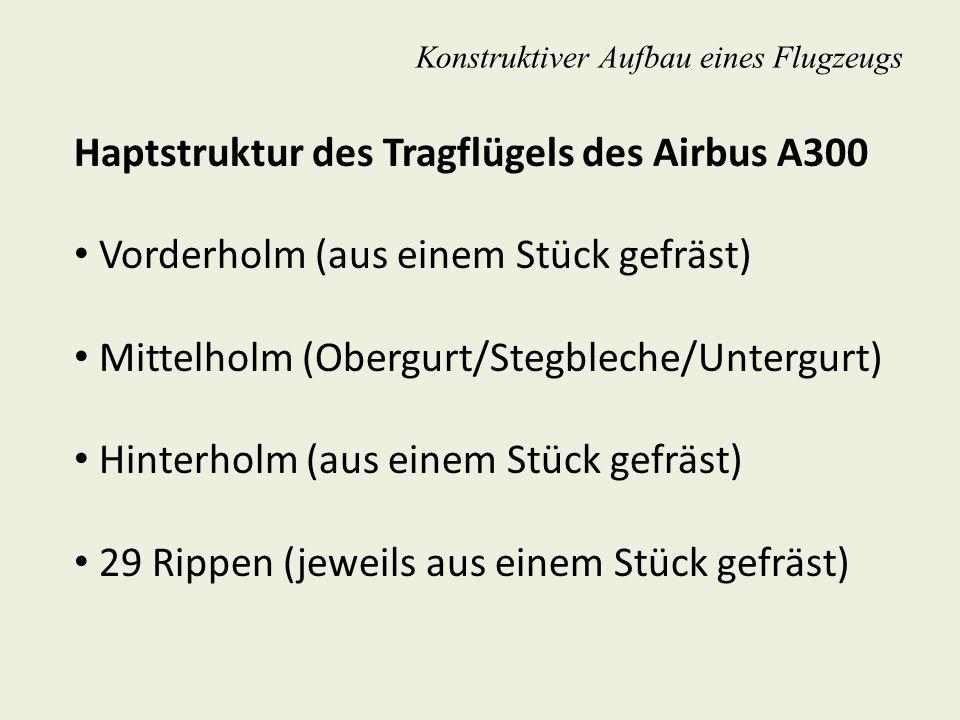 Konstruktiver Aufbau eines Flugzeugs Haptstruktur des Tragflügels des Airbus A300 Vorderholm (aus einem Stück gefräst) Mittelholm (Obergurt/Stegbleche