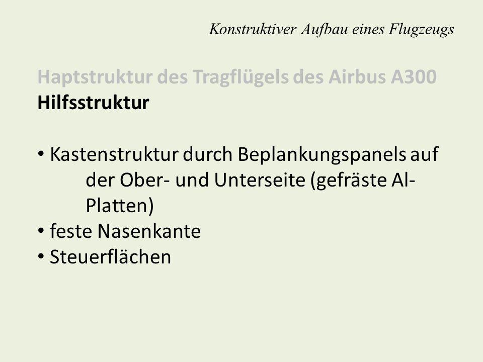 Konstruktiver Aufbau eines Flugzeugs Haptstruktur des Tragflügels des Airbus A300 Hilfsstruktur Kastenstruktur durch Beplankungspanels auf der Ober- u