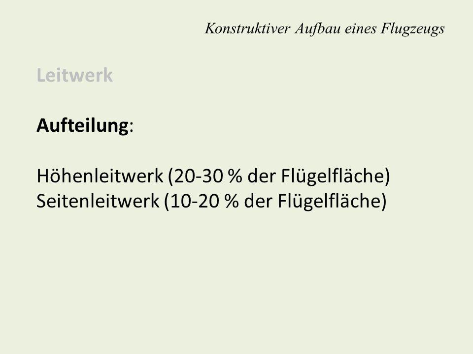 Konstruktiver Aufbau eines Flugzeugs Leitwerk Aufteilung: Höhenleitwerk (20-30 % der Flügelfläche) Seitenleitwerk (10-20 % der Flügelfläche)