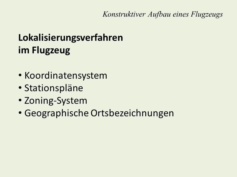 Lokalisierungsverfahren im Flugzeug Koordinatensystem Stationspläne Zoning-System Geographische Ortsbezeichnungen Konstruktiver Aufbau eines Flugzeugs