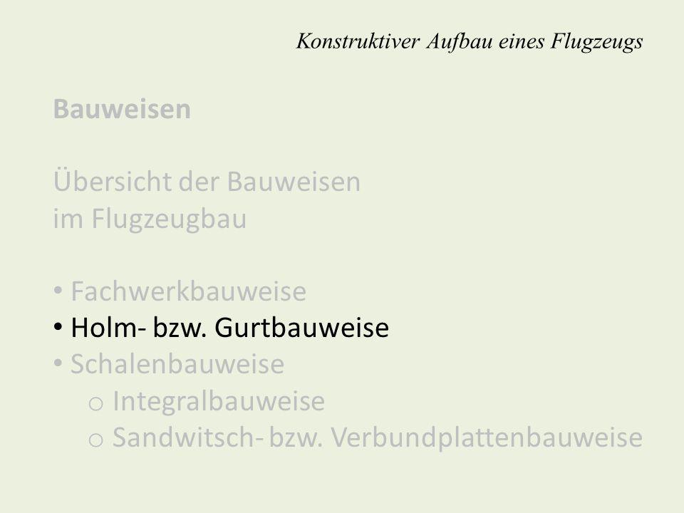 Bauweisen Übersicht der Bauweisen im Flugzeugbau Fachwerkbauweise Holm- bzw. Gurtbauweise Schalenbauweise o Integralbauweise o Sandwitsch- bzw. Verbun