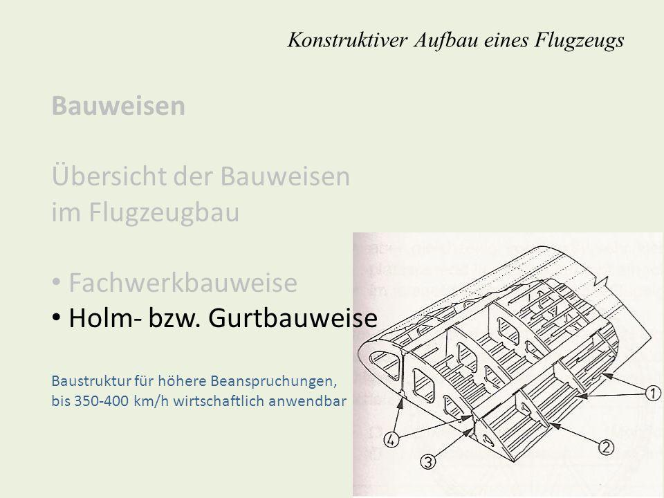 Bauweisen Übersicht der Bauweisen im Flugzeugbau Fachwerkbauweise Holm- bzw. Gurtbauweise Baustruktur für höhere Beanspruchungen, bis 350-400 km/h wir