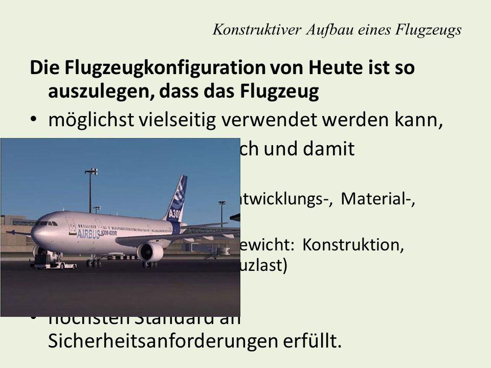 Fahrwerksanordnungen einfahrbar – nicht einziehbar o Geschwindigkeit, o Fluggewicht, o Ökonomie, o Herstellungskosten Konstruktiver Aufbau eines Flugzeugs