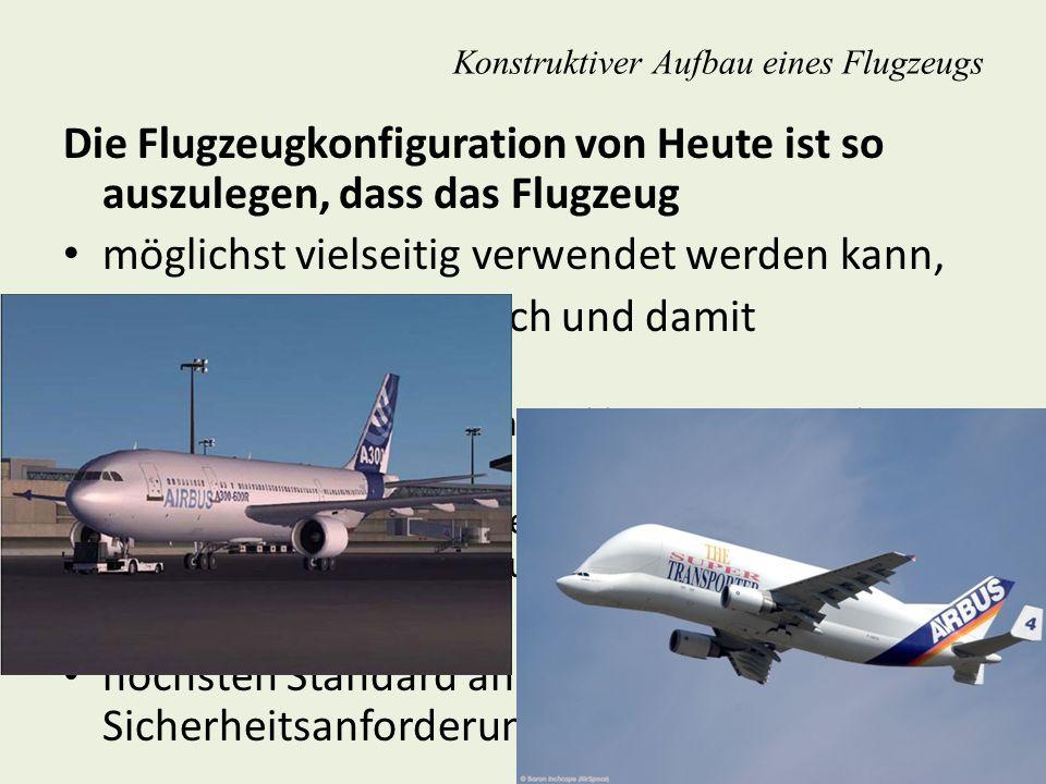 Konstruktiver Aufbau eines Flugzeugs Die Flugzeugkonfiguration von Heute ist so auszulegen, dass das Flugzeug möglichst vielseitig verwendet werden ka