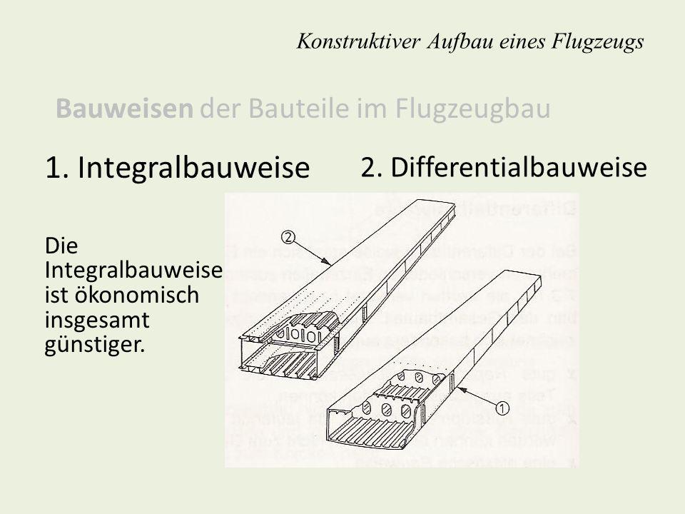 2. Differentialbauweise Konstruktiver Aufbau eines Flugzeugs 1. Integralbauweise Die Integralbauweise ist ökonomisch insgesamt günstiger. Bauweisen de