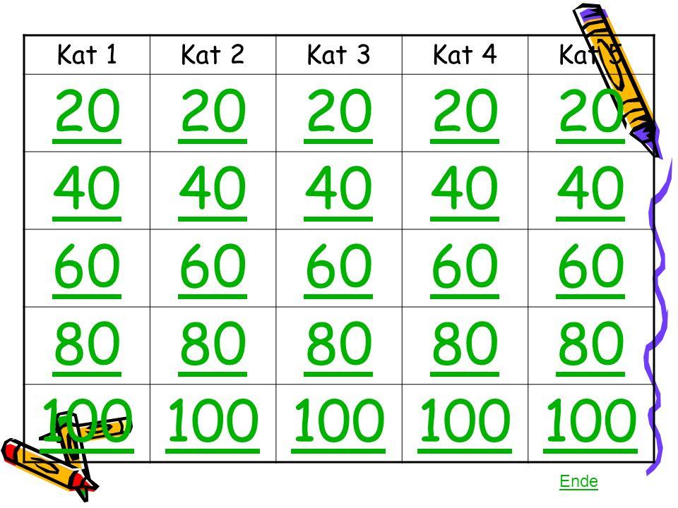 Kat 1Kat 2Kat 3Kat 4Kat 5 20 40 60 80 100 Ende