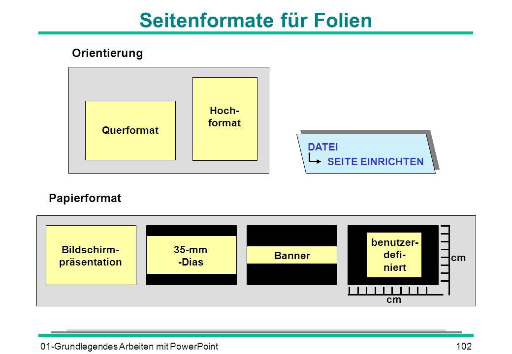 01-Grundlegendes Arbeiten mit PowerPoint102 Seitenformate für Folien DATEI SEITE EINRICHTEN Orientierung Querformat Hoch- format Bildschirm- präsentat