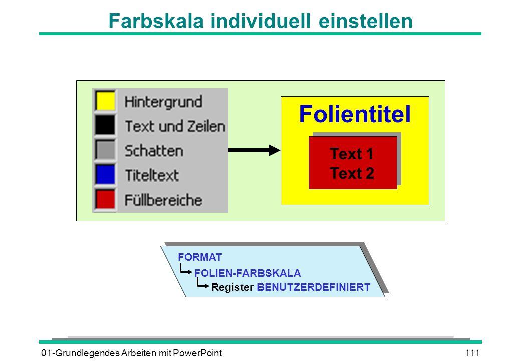 01-Grundlegendes Arbeiten mit PowerPoint111 Farbskala individuell einstellen Folientitel Text 1 Text 2 FORMAT Register BENUTZERDEFINIERT FOLIEN-FARBSK