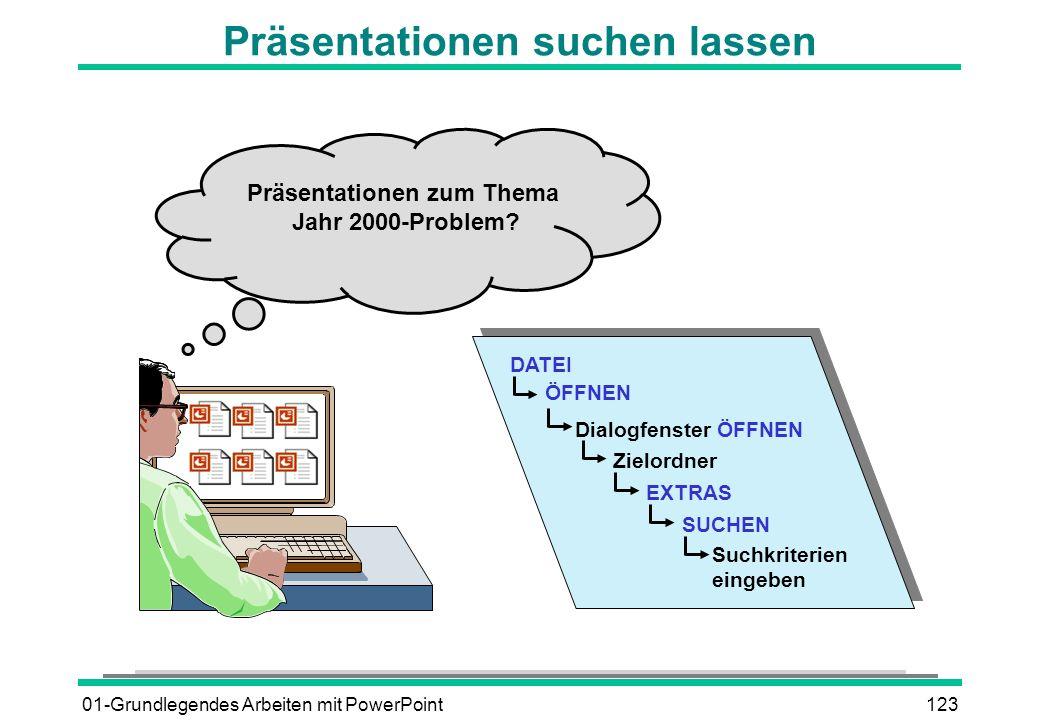 01-Grundlegendes Arbeiten mit PowerPoint123 Präsentationen suchen lassen Präsentationen zum Thema Jahr 2000-Problem? DATEI ÖFFNEN Zielordner Dialogfen